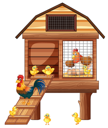Chicken coop with many chicks illustration