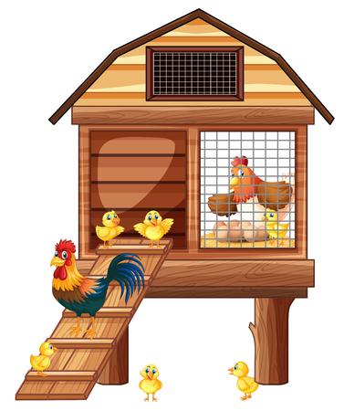 Kippencoop met veel kuikensillustratie