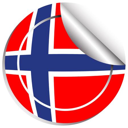 Sticker design for Norway flag illustration Illustration