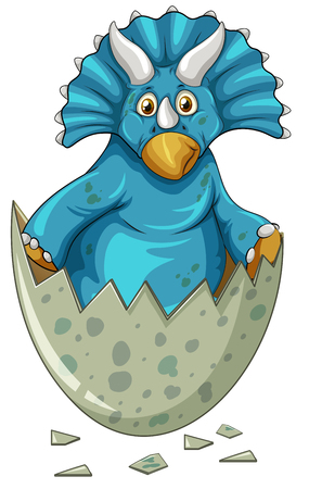 Blue dinosaur in gray egg illustration