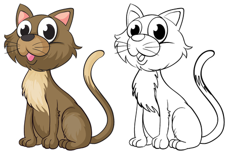 Doodle animal character for cute cat illustration