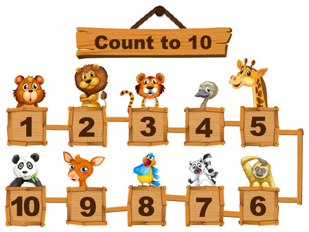 one panda: Counting numbers one to ten with animals illustration