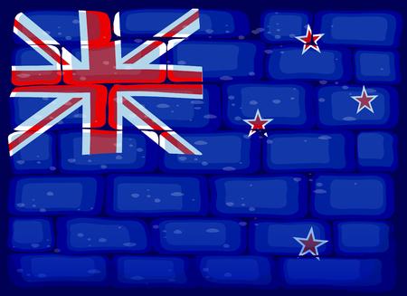 New Zealand flag painted on brickwall illustration Illustration