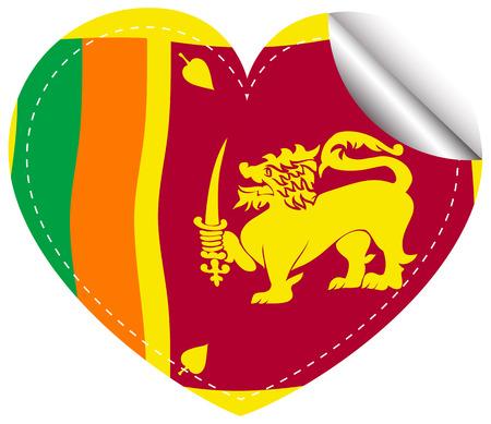 srilanka: Icon design for flag of Sri Lanka in heart shape illustration