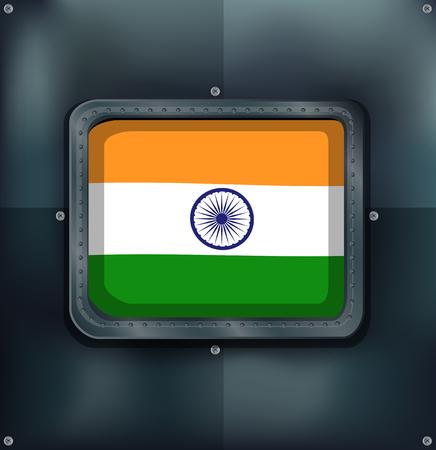 iron and steel: Flag of India on metalic background illustration Illustration