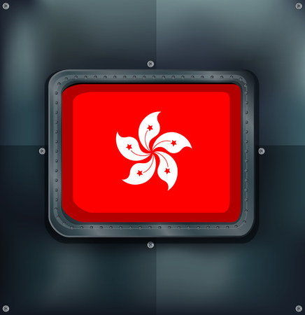 metalic: Flag of HongKong on metalic background illustration