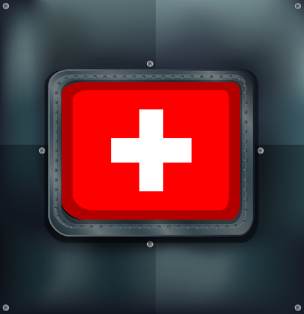 metalic: Switzerland flag on metalic background illustration Illustration