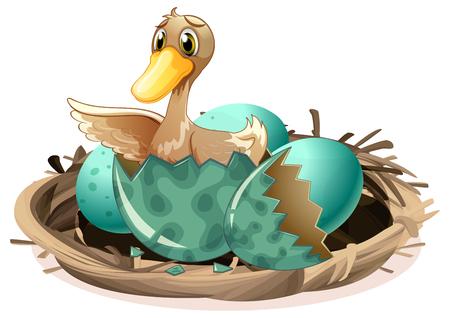 Ugly duckling hatching egg in nest illustration Ilustração