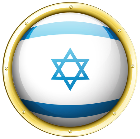 Flag of Israel on round badge illustration