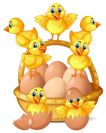 Little chicks and eggs in basket illustration