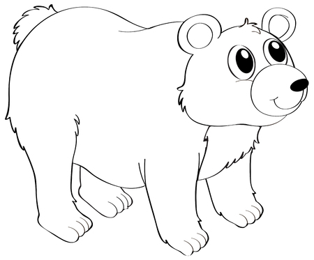 cute bear: Animal outline for grizzly bear illustration