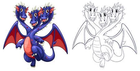three headed: Animal outline for three headed dragon illustration