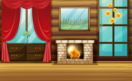 Room with fireplace and red curtain illustration