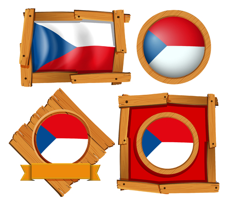 Bandera de Chile en diferentes marcos ilustración