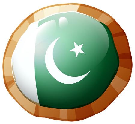 Flag of Pakistan on round frame illustration Illustration