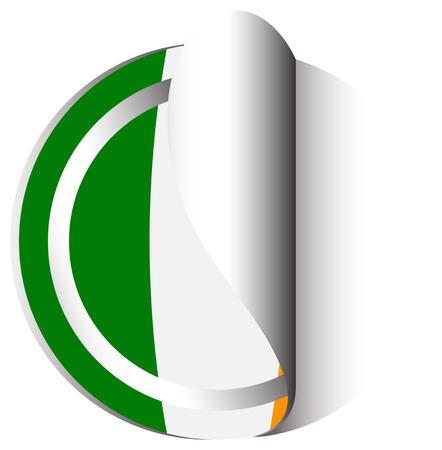 Diseño de la etiqueta engomada para la bandera de la ilustración de Irlanda Vectores