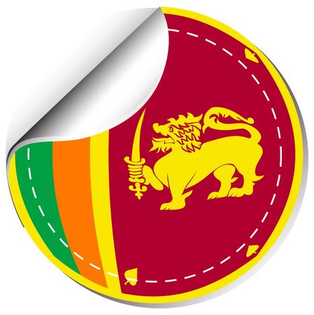 Sticker design for Sri Lanka flag illustration