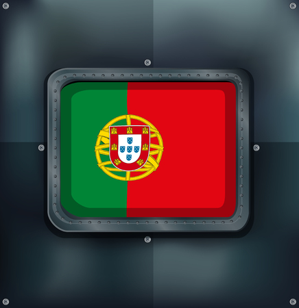 metalic: Portugal flag on metalic background illustration
