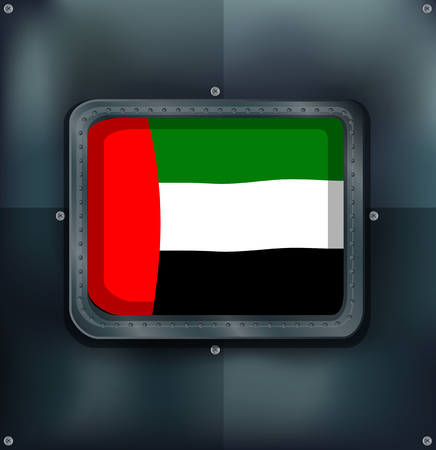 metalic: Arab Emirates flag on metalic wall illustration