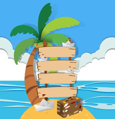 Wooden signs on island illustration
