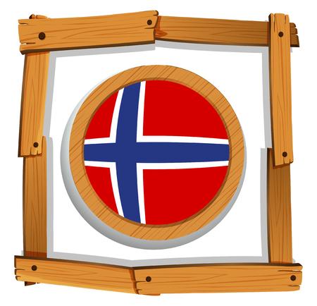 norway flag: Flag of Norway in wooden frame illustration