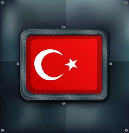 metalic: Turkey flag on metalic background illustration Illustration