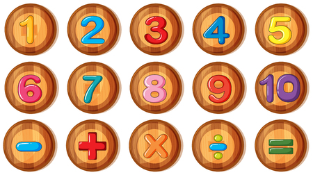 Font design for numbers and signs on round badges illustration