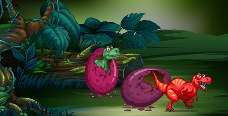 Forest scene with two dinosaurs hatching egg illustration