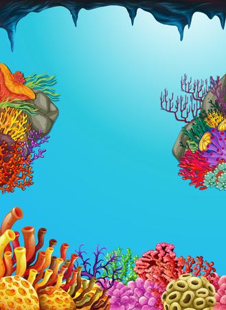 Scene with coral reef underwater illustration Illustration