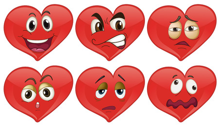Red hearts with facial expressions illustration