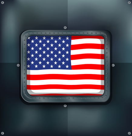 metalic: Flag of America on metalic wall illustration