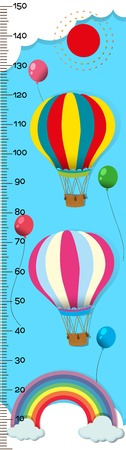 Measuring height scales on paper with balloons in sky illustration
