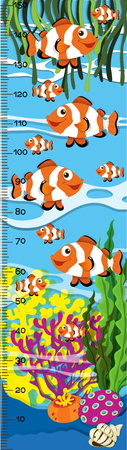 Measuring height scales on paper with clownfish in the sea illustration