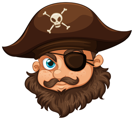 eyepatch: Pirate wearing hat and eyepatch illustration Illustration