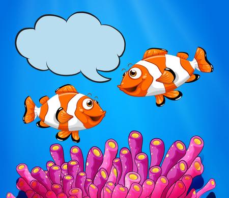 Two clowfish swimming under the sea illustration Illustration