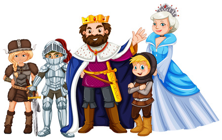 Fairytale characters on white background illustration Illustration