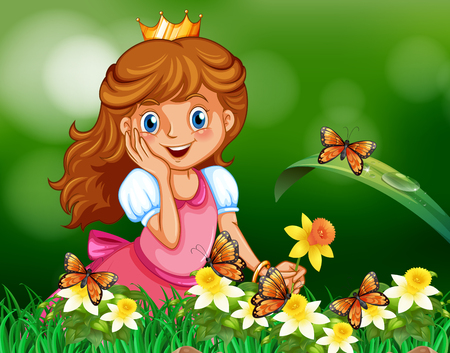 Cute princess in garden illustration