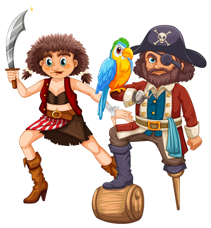 pirate crew: Pirate and his crew with weapon illustration Illustration
