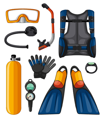 Different equipments for scuba diving illustration