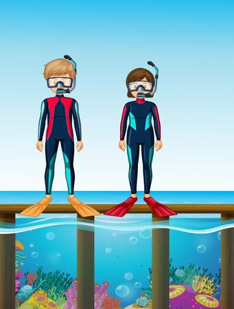 Two divers standing on bridge illustration Illustration