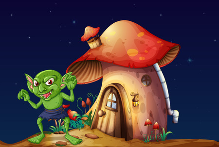 outside the house: Green elf and mushroom house at night illustration Illustration