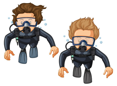 Two scuba divers in wetsuit illustration Illustration