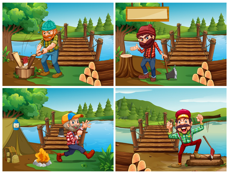 Four scenes with lumberjack and woods illustration