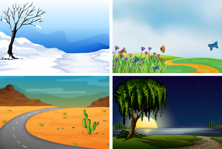 Four nature scenes day and night illustration