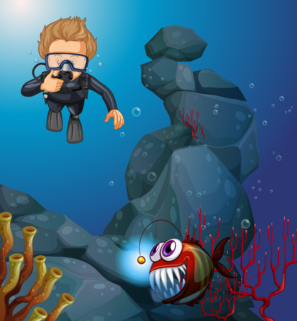 deep sea diver: Diver diving in deep blue sea illustration