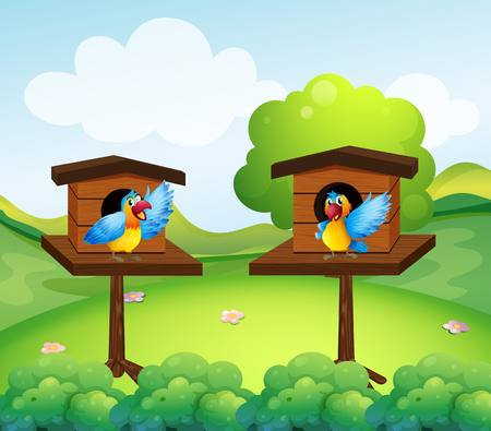 Two parrots in birdhouse  illustration