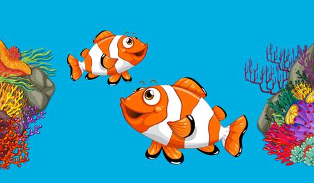 Two clownfish swimming in ocean illustration Illustration