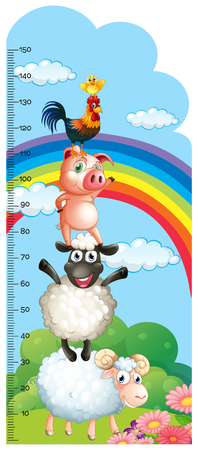 Height measurement chart with farm animals in background illustration