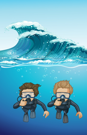 Two divers under the ocean illustration