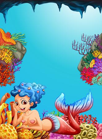 Mermaid swimming under the ocean illustration